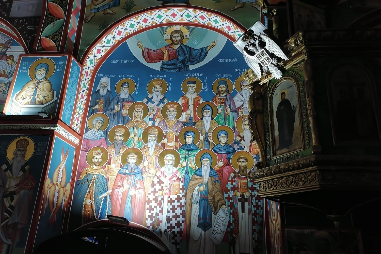 """Freska """"Sabor srpskih svetitelja"""" unutar Stare crkve u Kragujevcu (Foto: Radomir Jovanović/Novi Standard)"""