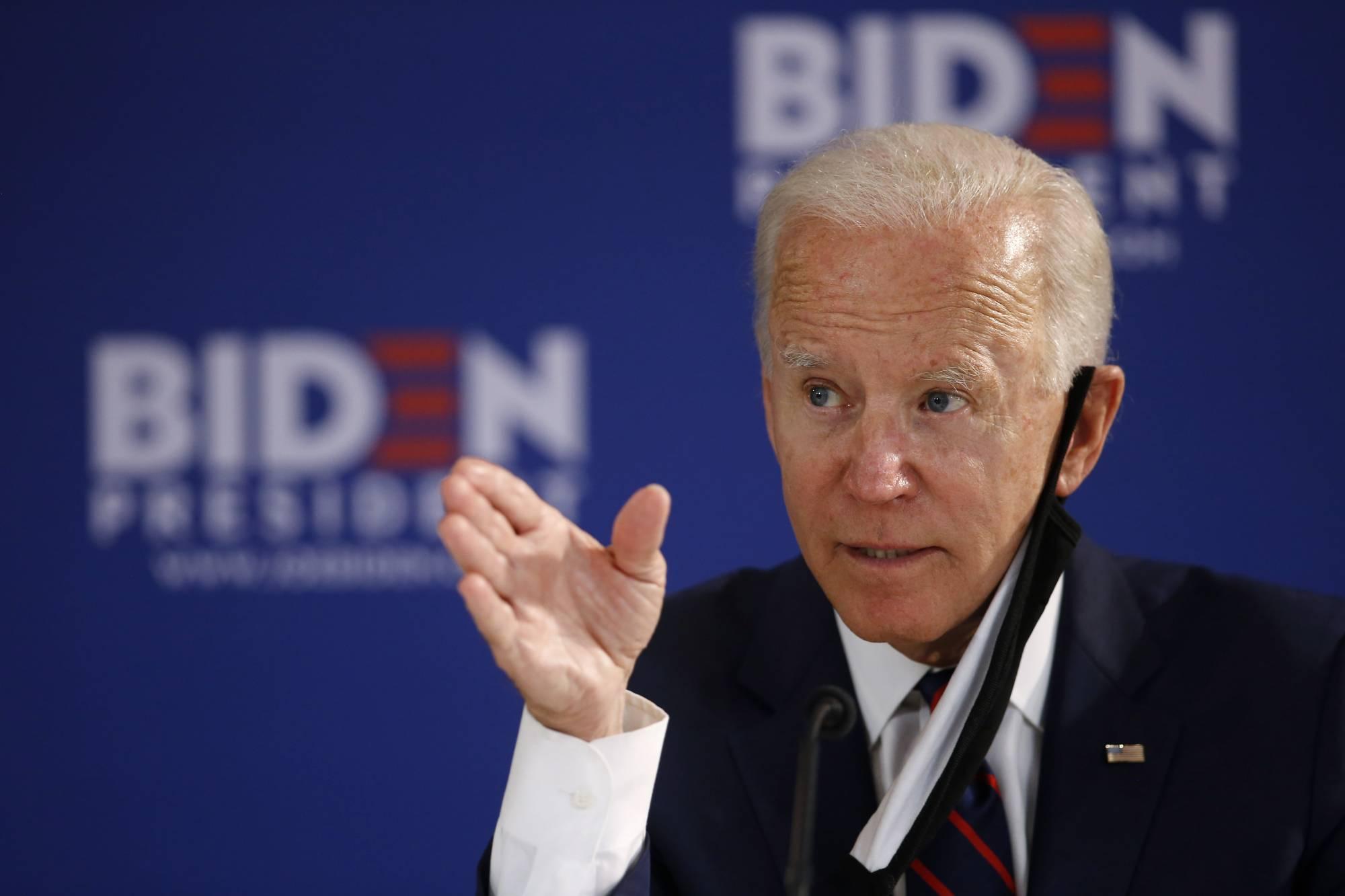 Председнички кандидат Демократске странке Џозеф Бајден током једног скупа са својим присталицама (Фото: AP Photo/Matt Slocum)