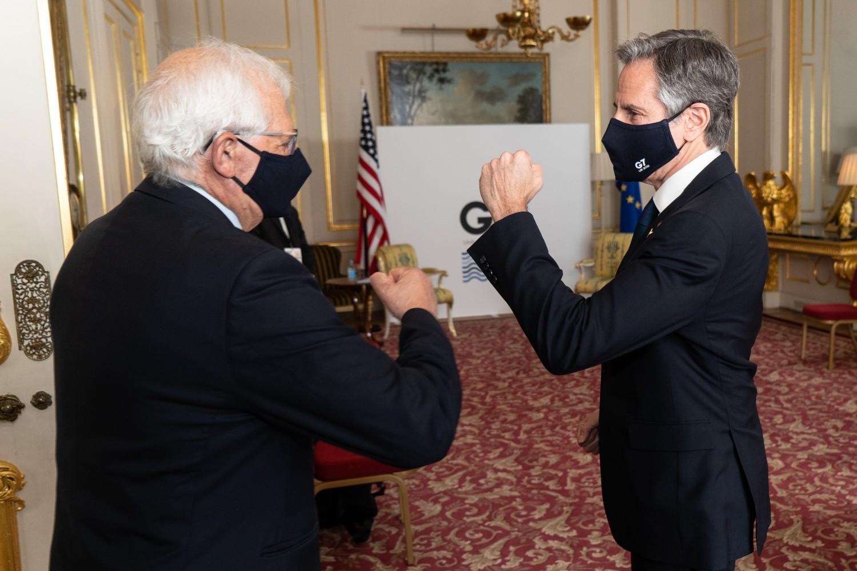 Visoki predstavnik EU za spoljne poslove i bezbednosnu politiku Žozep Borel i američki državni sekretar Entoni Blinken tokom bilateralnog susreta na sastanku G7, London, 05. maj 2021. (Foto: Niklas Halle'n/European Union)