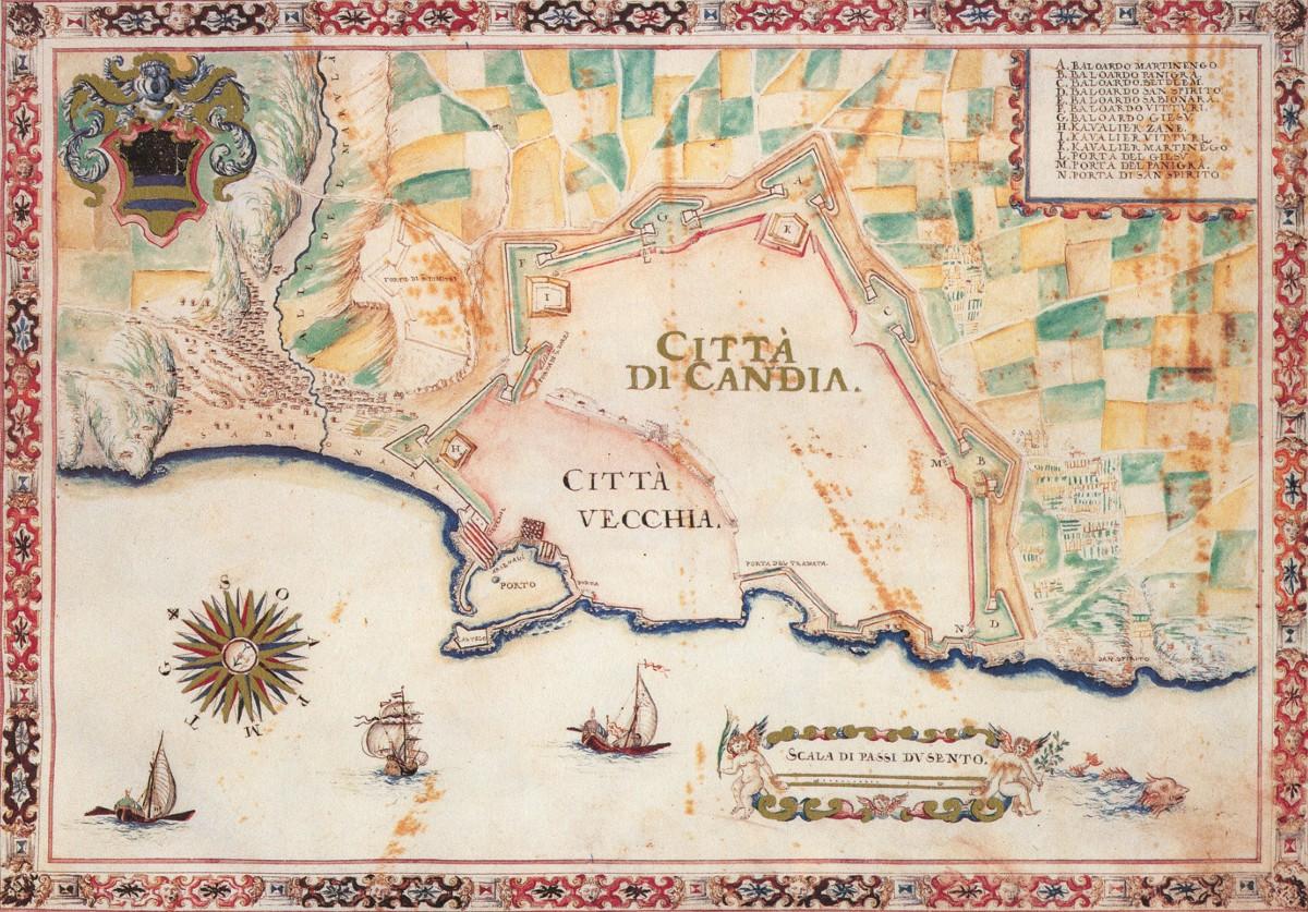Mletačka karta Krita (Kandije) (Foto: Wikimedia/eng.travelogues.gr)