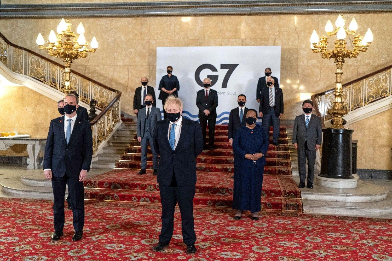 Britanski premijer Boris Džonson i britanski ministar spoljnih poslova Dominik Rab sa ostalim predstavnicima članica G7, London, 05. maj 2021. (Foto: Niklas Halle'n/European Commission/AFP via Getty Images)