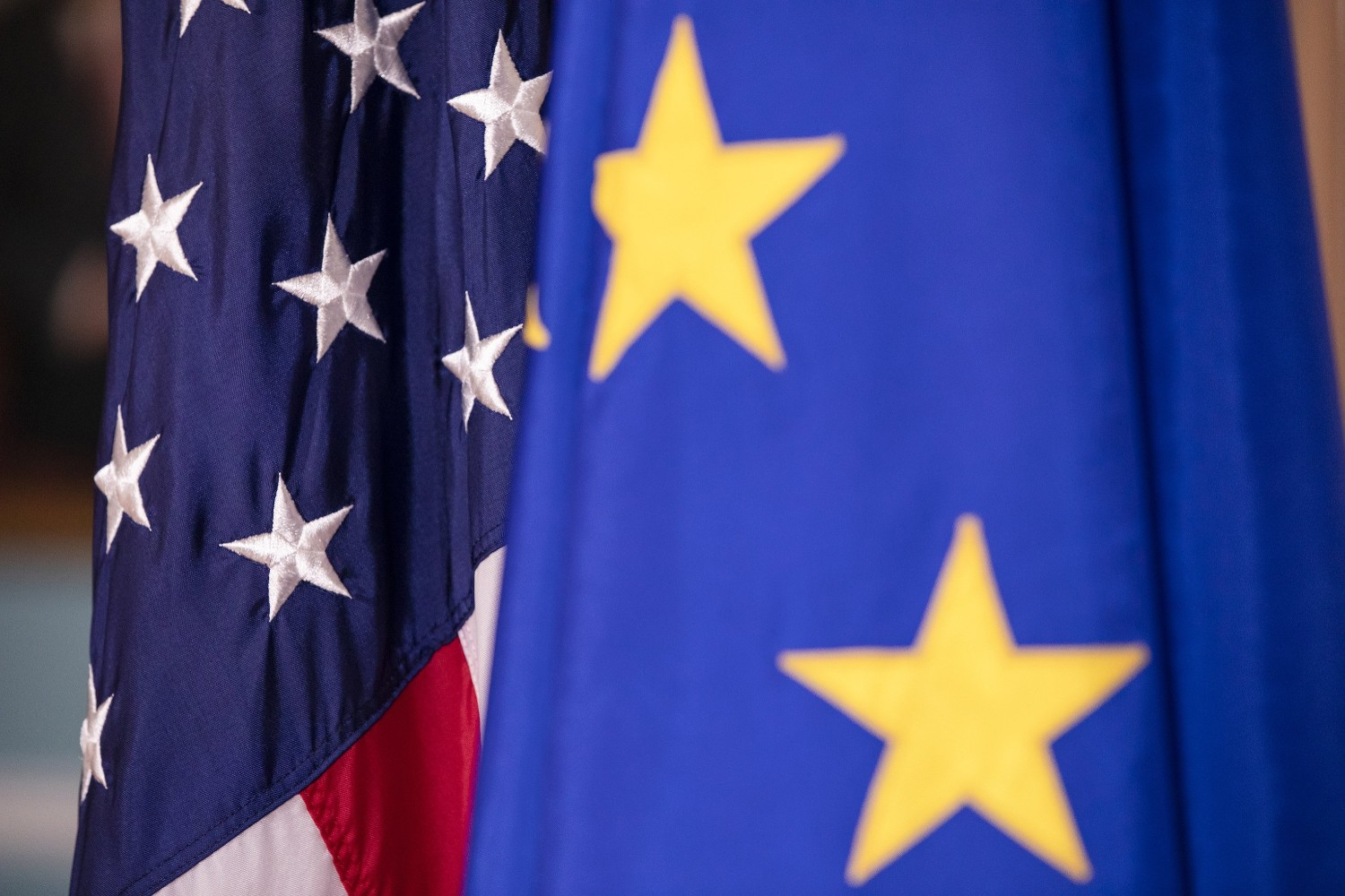 The European Union and U.S. flags are displayed before a Feb. 7 meeting between U.S. Secretary of State Mike Pompeo and the E.U. high representative for foreign affairs and security, Josep Borrell. (Samuel Corum/Getty Images)