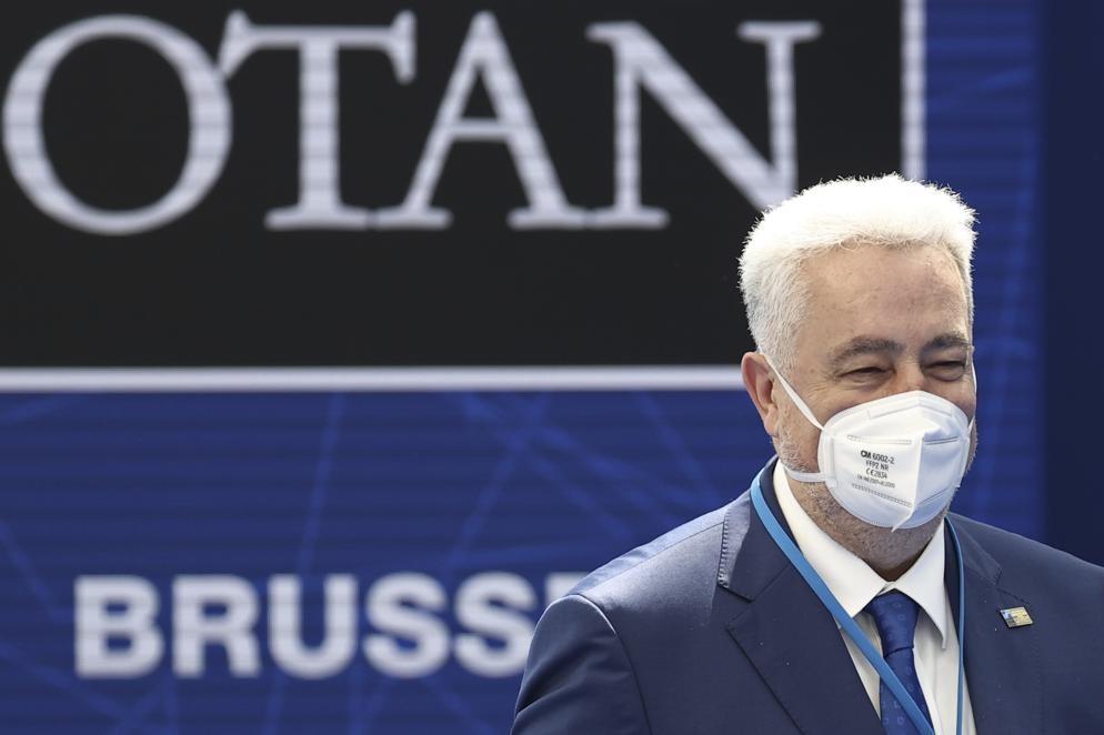 Premijer Crne Gore Zdravko Krivokapić tokom NATO samita u Briselu, 14. jun 2021. (Foto: Kenzo Tribouillard, Pool via AP)