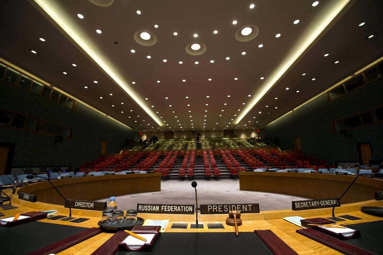 Prikaz sale u kojoj se održavaju zasedanja Saveta bezbednosti Ujedinjenih nacija iz ugla predsedavajućeg (Foto: Reuters/Mike Segar)
