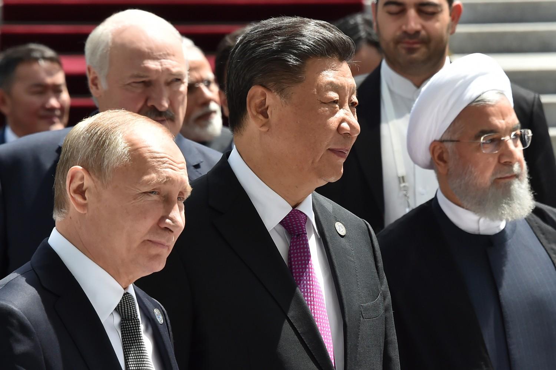 Predsednik Rusije Vladimir Putin, predsednik Kine Si Đinping i predsednik Irana Hasan Rohani tokom samita Šangajske organizacije za saradnju, Biškek, 14. jun 2019. (Foto: Vyacheslav Oseledko/AFP/Getty Images)