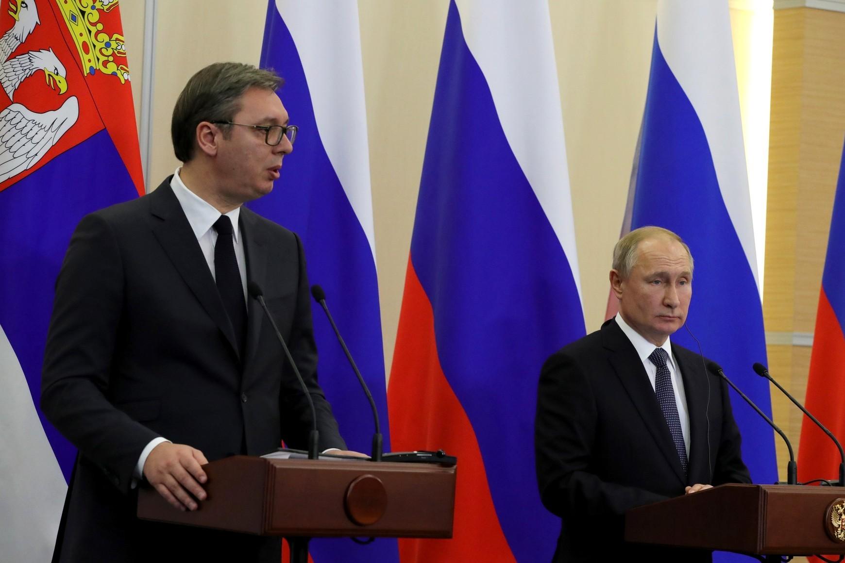 Predsednik Srbije Aleksandar Vučić i predsednik Rusije Vladimir Putin tokom zajedničke konferencije za medije nakon sastanka, Soči, 04. decembar 2019. (Foto: kremlin.ru)