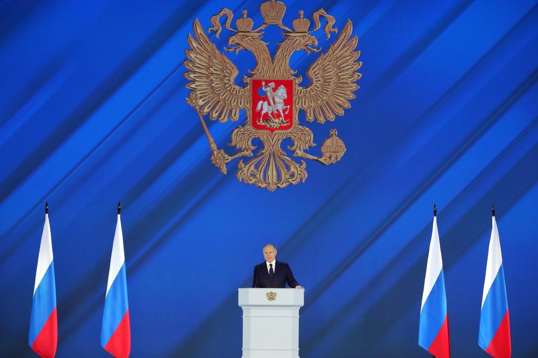 Ruski predsednik Vladimir Putin tokom obraćanja Federalnoj skupštini, Moskva, 21. april 2021. (Foto: kremlin.ru)