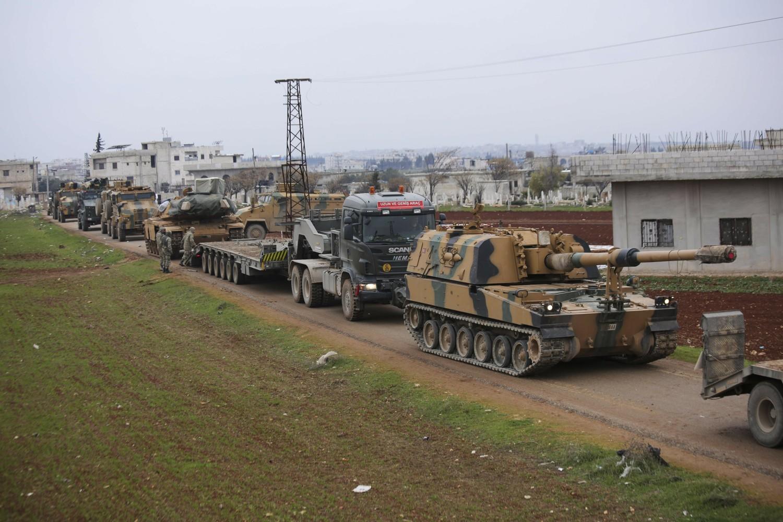 Turski vojni konvoj u blizini grada Idliba u Siriji, 12. februar 2020. (Foto: AP Photo/Ghaith Alsayed)