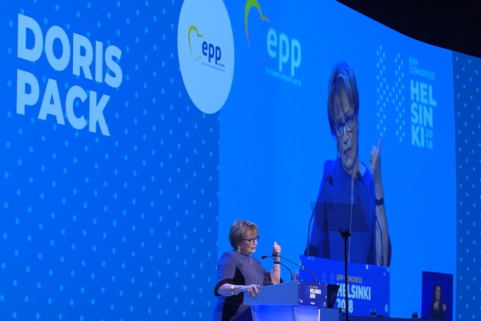 Doris Pak prilikom govora na kongresu EPP-a u Helsinkiju, 07. novembar 2018. (Foto: Snimak ekrana/Jutjub/EPP)
