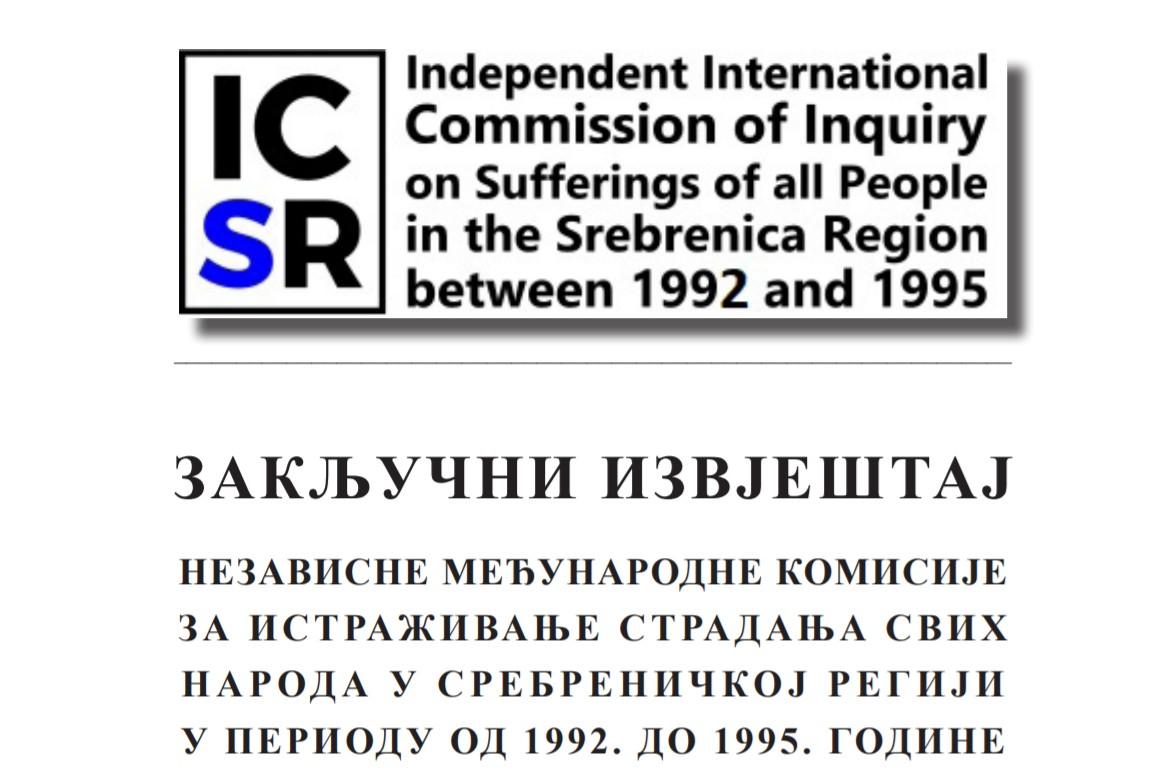 Prva stranica Zaključnog izvještaja Nezavisne međunarodne komisije za istraživanje stradanja svih naroda u srebreničkoj regiji u periodu od 1992. do 1995. godine (Foto: Snimak ekrana)