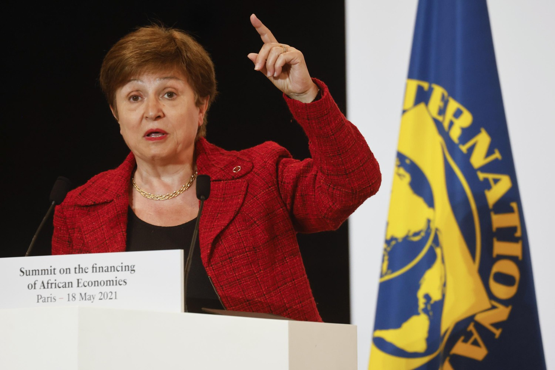 Generalna direktorka Međunarodnog monetarnog fonda (MMF) Kristalina Georgijeva tokom govora na Samitu o finansiranju afričkih ekonomija, Pariz, 18. maj 2021. (Foto: Ludovic Marin/ Pool via AP)