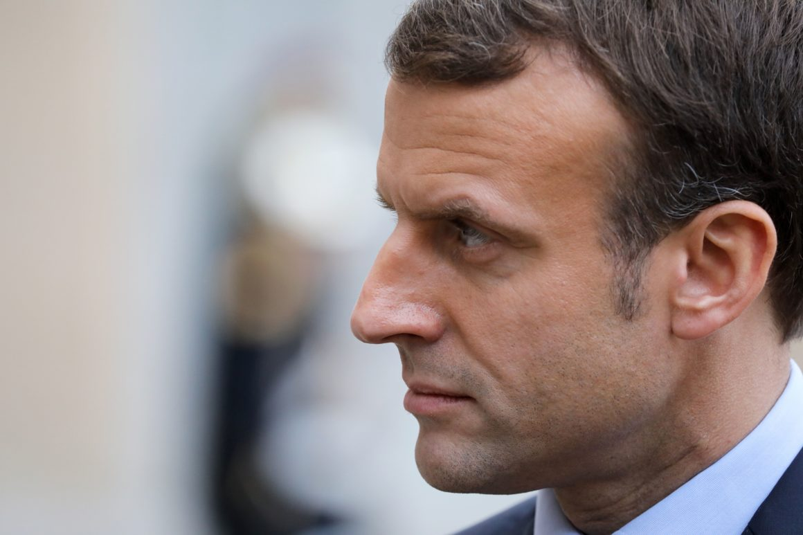 French president Emmanuel Macron looks at his Bulgarian counterpart addressing the media following their meeting on December 4, 2017 at the Elysee palace in Paris. / AFP PHOTO / LUDOVIC MARIN (Photo credit should read LUDOVIC MARIN/AFP/Getty Images)
