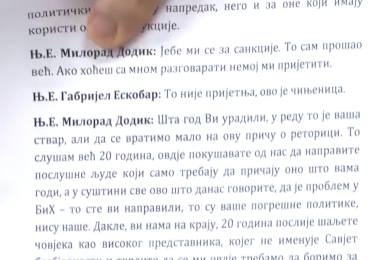 Stenogram razgovora između Milorada Dodika i Gabrijela Eskobara (Foto: Snimak ekrana/Jutjub/Televizija srpske dijaspore)