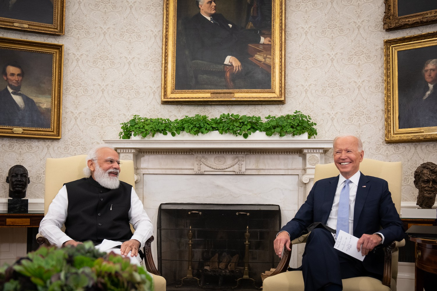 WASHINGTON, DC - SEPTEMBER 24: U.S. President Joe Biden (R) and Indian Prime Minister Narendra Modi participate in a bilateral meeting in the Oval Office of the White House on September 24, 2021 in Washington, DC. President Biden is hosting a Quad Leaders Summit later today with Prime Minister Modi, Australian Prime Minister Scott Morrison and Japanese Prime Minister Suga Yoshihide. (Photo by Sarahbeth Maney-Pool/Getty Images)